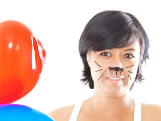 asian woman with face paint & balloons