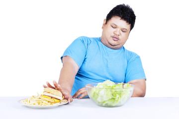 Fat man refuse junk food 1
