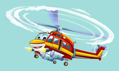 Cartoon helicopter - illustration for the children