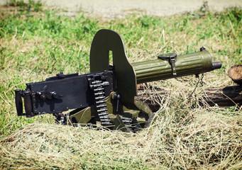 Historical loaded machine gun