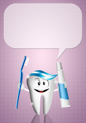 Tooth with comic for dentist
