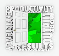 Productivity Efficiency 3d Word Door Improve Results Output