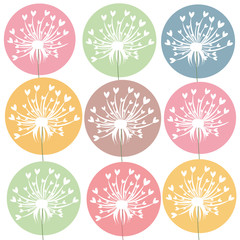 Dandelion flowers with pastel colours greeting card vector