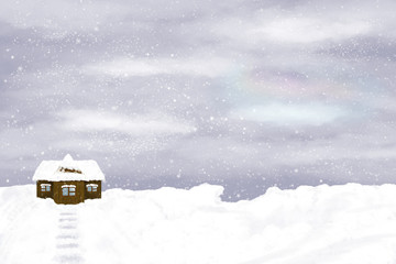 Lonely house on winter sky background
