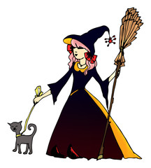 Witch witch cat and broom on the Halloween