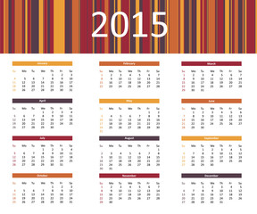 2015 colorful year calendar in bright colors