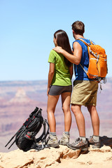 People hiking - Hikers in Grand Canyon