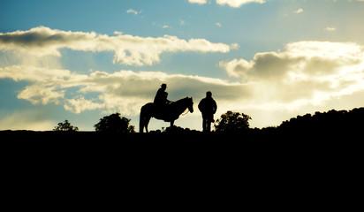 Local villager on horse. Amantani Island, Lake Titicaca, Puno, P