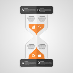 Infographics hourglass design paper style concept.