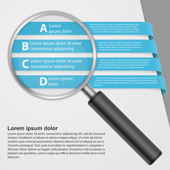 Vector infographic with a magnifying glass.