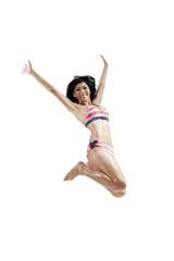 Joyful woman wearing swimwear jumping isolated