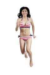 Joyful woman in sexy bikini 1