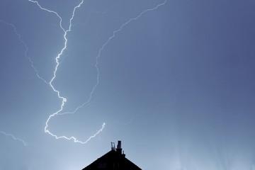 Lightning strikes down