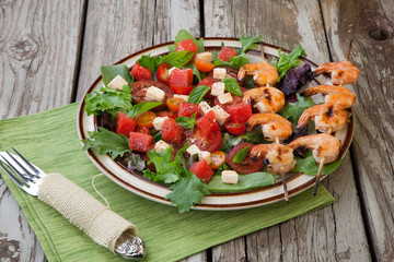 Grilled Shrimp and Watermelon Salad