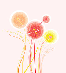 Abstract illustration with delicate flowers.