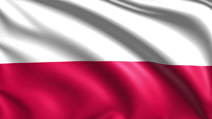 flag of Poland with fabric structure; looping