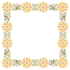 Flowers and plant leaves border frame