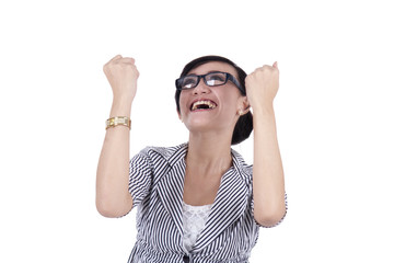 Successful businesswoman expressing happy