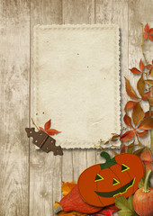 Vintage card with Halloween pumpkin