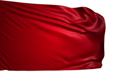blank red flag with fabric structure; looping