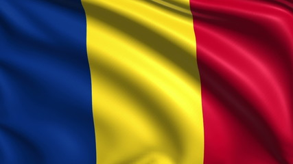 flag of Romania with fabric structure; looping