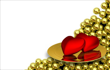 two red heartson plate and glossy golden spheres on background