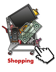 Shopping cart with household appliances