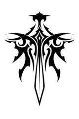 Winged sharp sword tattoo