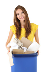 Young girl sorting paper and cardboard isolated on white