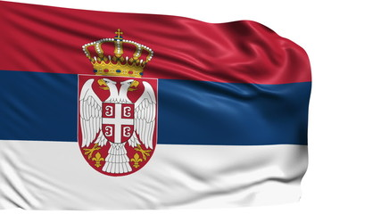 flag of Serbia with fabric structure; looping