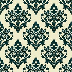 Floral green damask seamless pattern