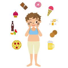カロリー食品とダイエットしている女性