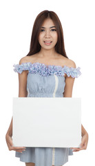 Beautiful Asian woman with blank sign