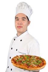 Asian chef preparing pizza