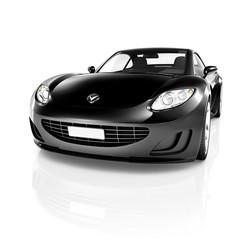 Contemporary Black Shiny Sport Car