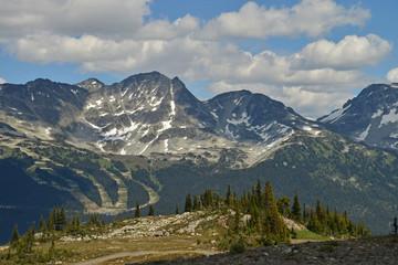 Ski slopes and snow-covered peaks around Whistler