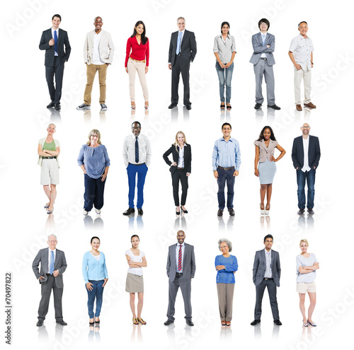 canvas print picture Multiethnic Group of People Isolated on White