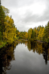 Autumn landscape. River in North Karelia