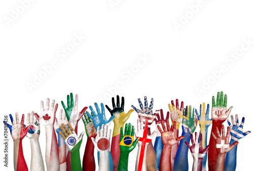 Group of Diverse Flag Painted Hands Raised - 70498436