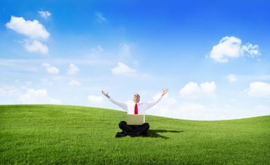 Businessman Celebrating Success in an Open Field