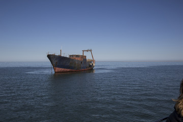 Namibia, shipwreck in the ocean