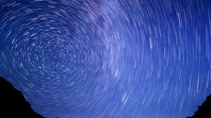 Stars line over the mountains. Time Lapse . UltraHD (4K)