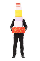 Businessman holding gift boxes. isolated on white