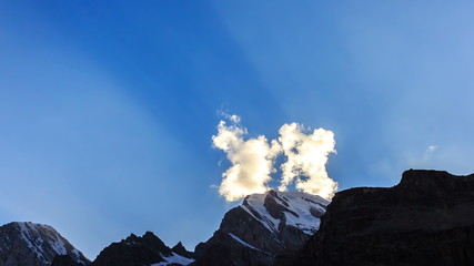 Clouds over mountains. Time Lapse. Pamir, Tajikistan . UltraHD (