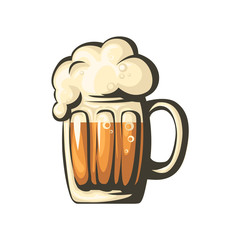 Isolated beer mug. Vector.
