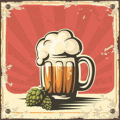Retro beer poster. Vector.