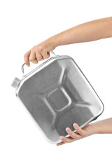 Hands with metal jerrycan