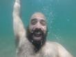 underwater man in summer happy