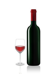 Wine bottle and red wine glass on white