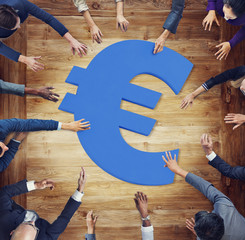 Diverse Business People Around Currency Symbol